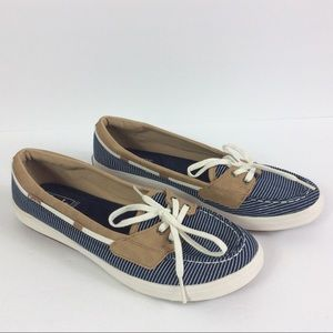Keds Ortholite Navy & White Striped Boat Shoe 8.5